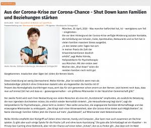 Bild Meike Hörnke und Artikel über das Thema wie Corona als Chance dienen kann und Beziehungen stärkt